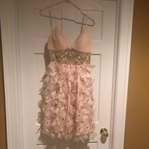 Sue Wong NWT champagne colored cocktail dress